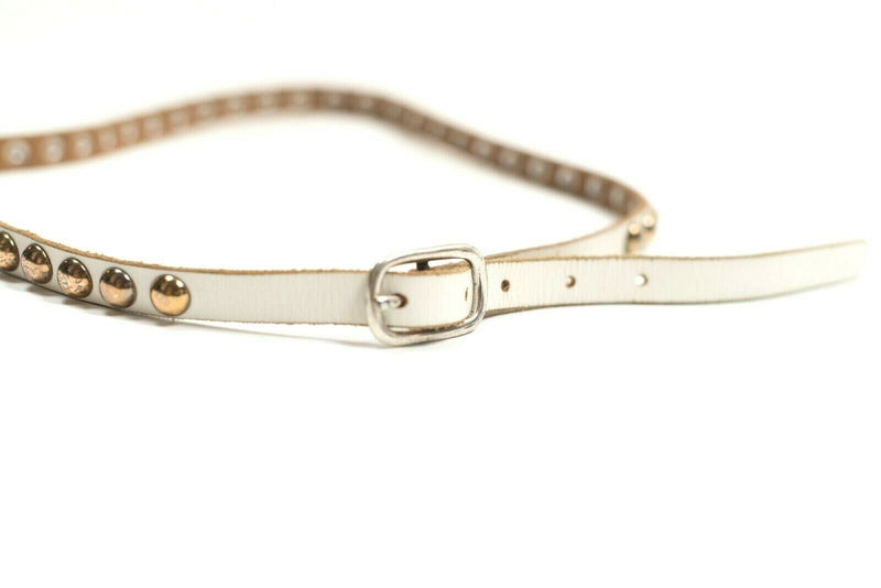 Linea Pelle Antropologie Womens Small White Gold Belt Leather Metal Studs Belt