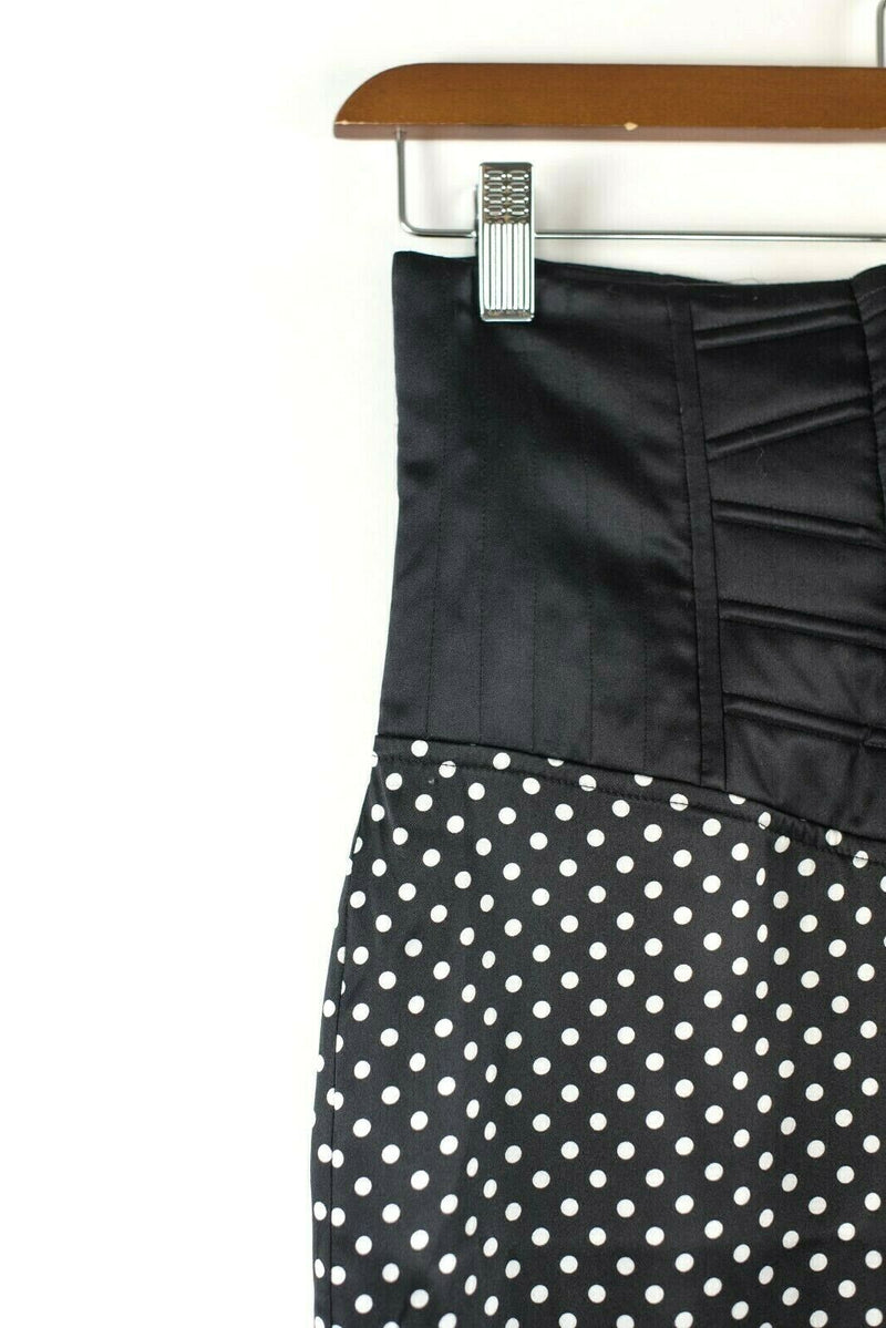 Marciano Womens Size XS Black Skirt Silk Polka Dot Midi Bustier Tie Up Slit Silk