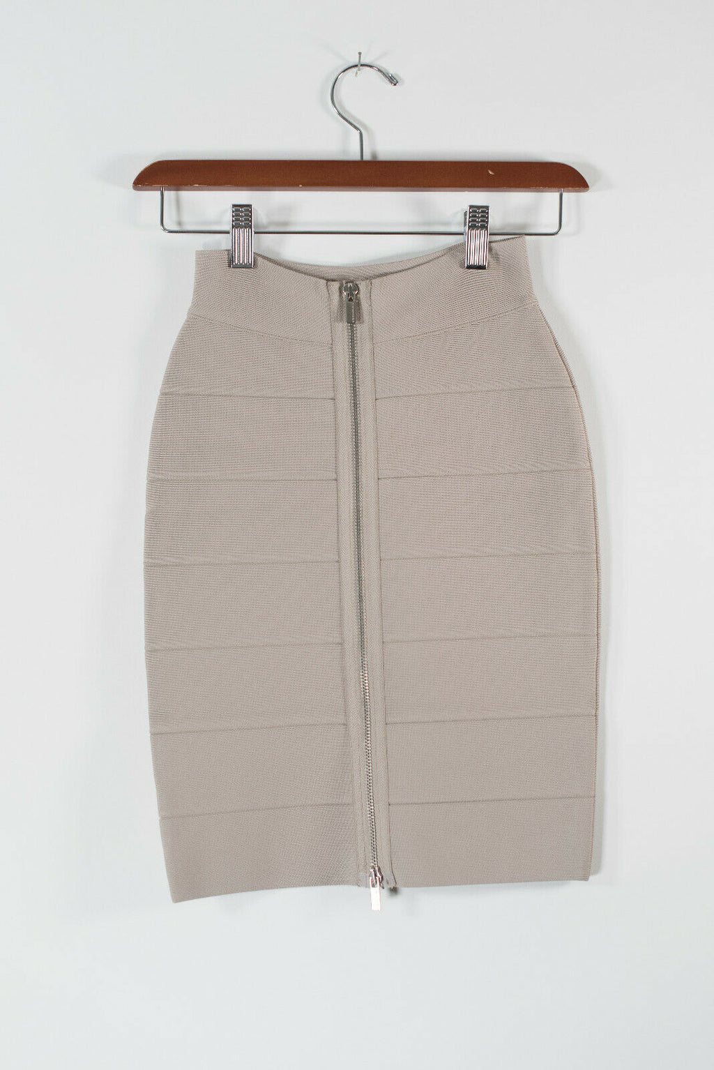 BCBG MaxAzria Womens Size XXS Beige Bandage Skirt Stretch Knit Full Back Zip