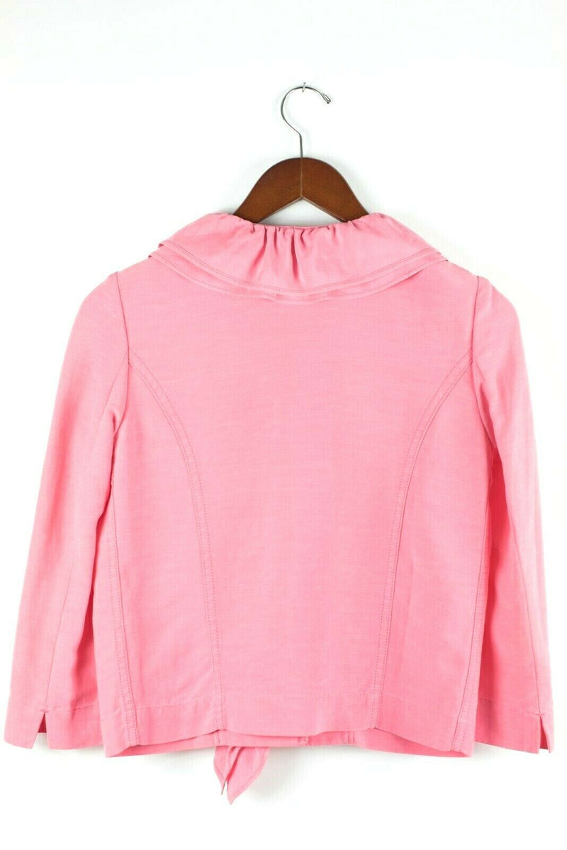 Moschino Cheap and Chic Womens Small Pink Blazer Buttons Ruffle Front Jacket VTG