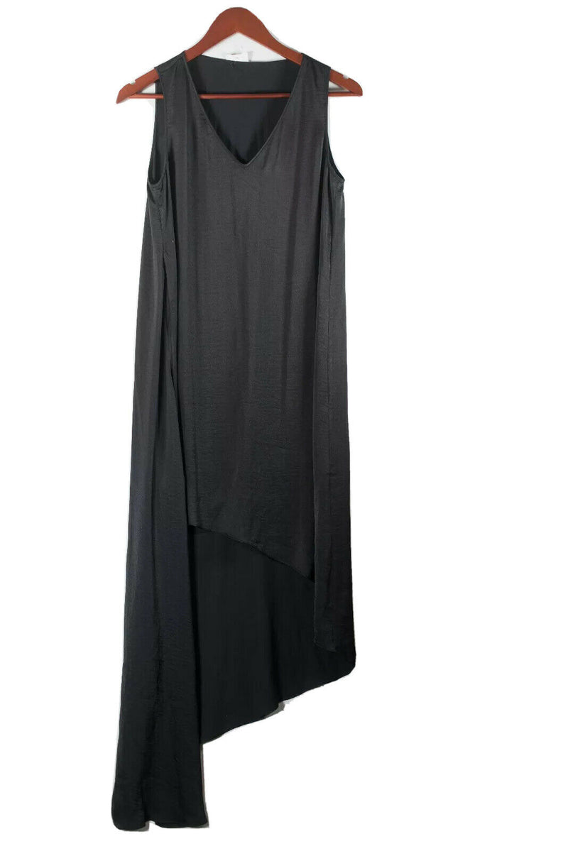 BCBG MaxAzria Womens XXS Black Dress Satin Asymmetrical V-Neck Sleeveless Hi-Lo