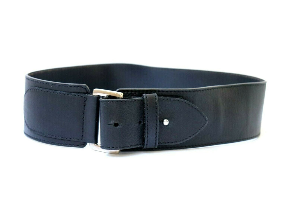 Club Monaco Womens Size XS Black Gold Belt Leather Medium Wide Buckle Accessory