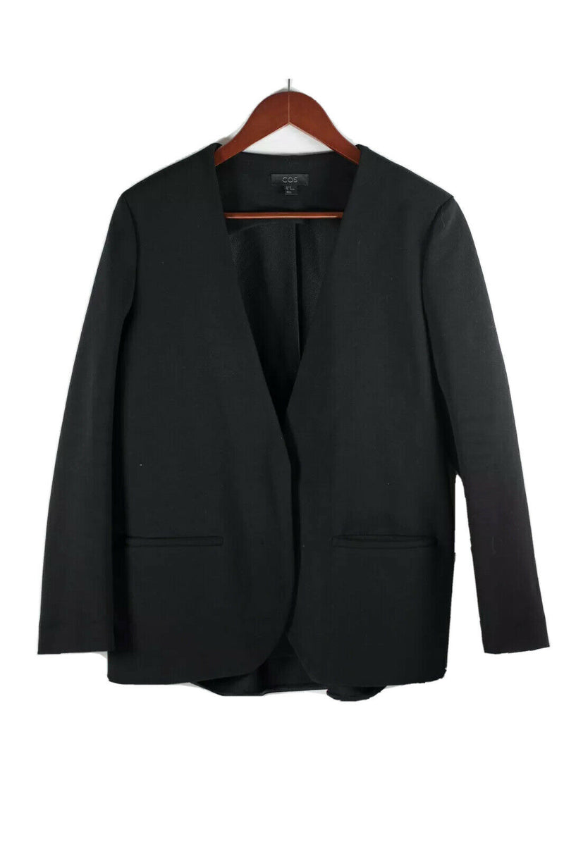 COS Womens Size 10 Black Blazer Jacket Open Front V-Neck Knit Front Pockets