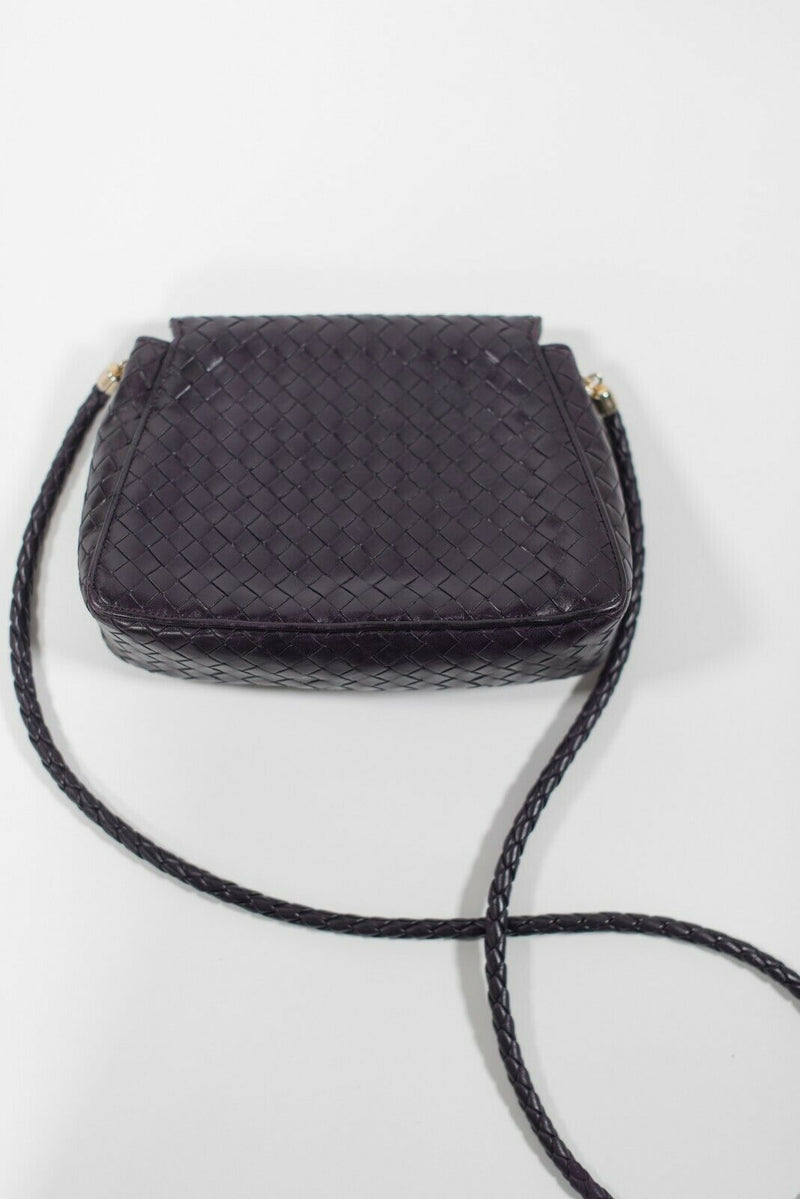 Bottega Veneta Womens Purple Purse Woven Leather Flap Bag Vintage Crossbody