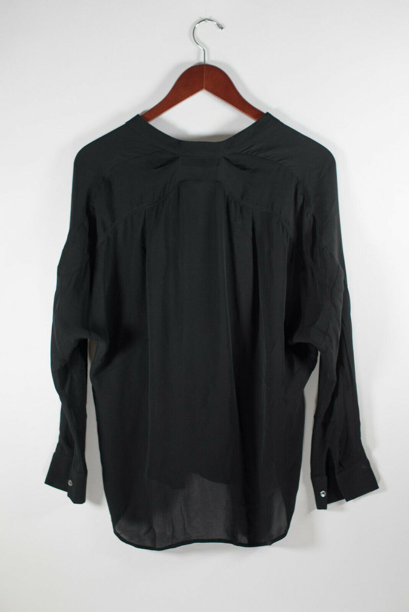 Vince Womens Size XS Black Blouse Long Sleeve Shirt Rib Trim Silk V Neck Top