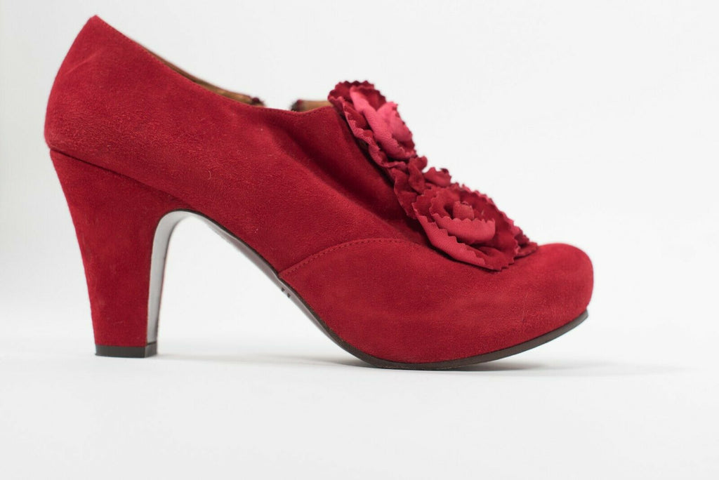 Chie Mihara Women's Size 10 Red Pumps Block Heel Suede Leather Side Zip Shoes