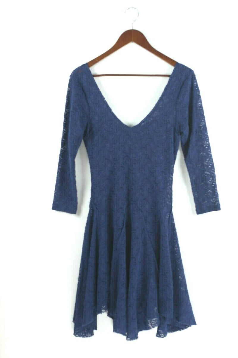 Free People Womens Small Purple Dress Seamless Crochet Lace Stretchy Boho Mini