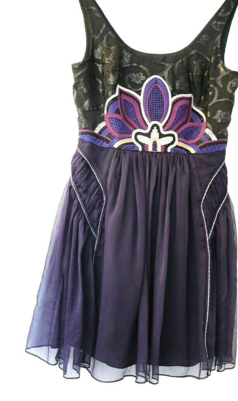 Free People Womens Small Purple Dress Silk Floral Short Mini