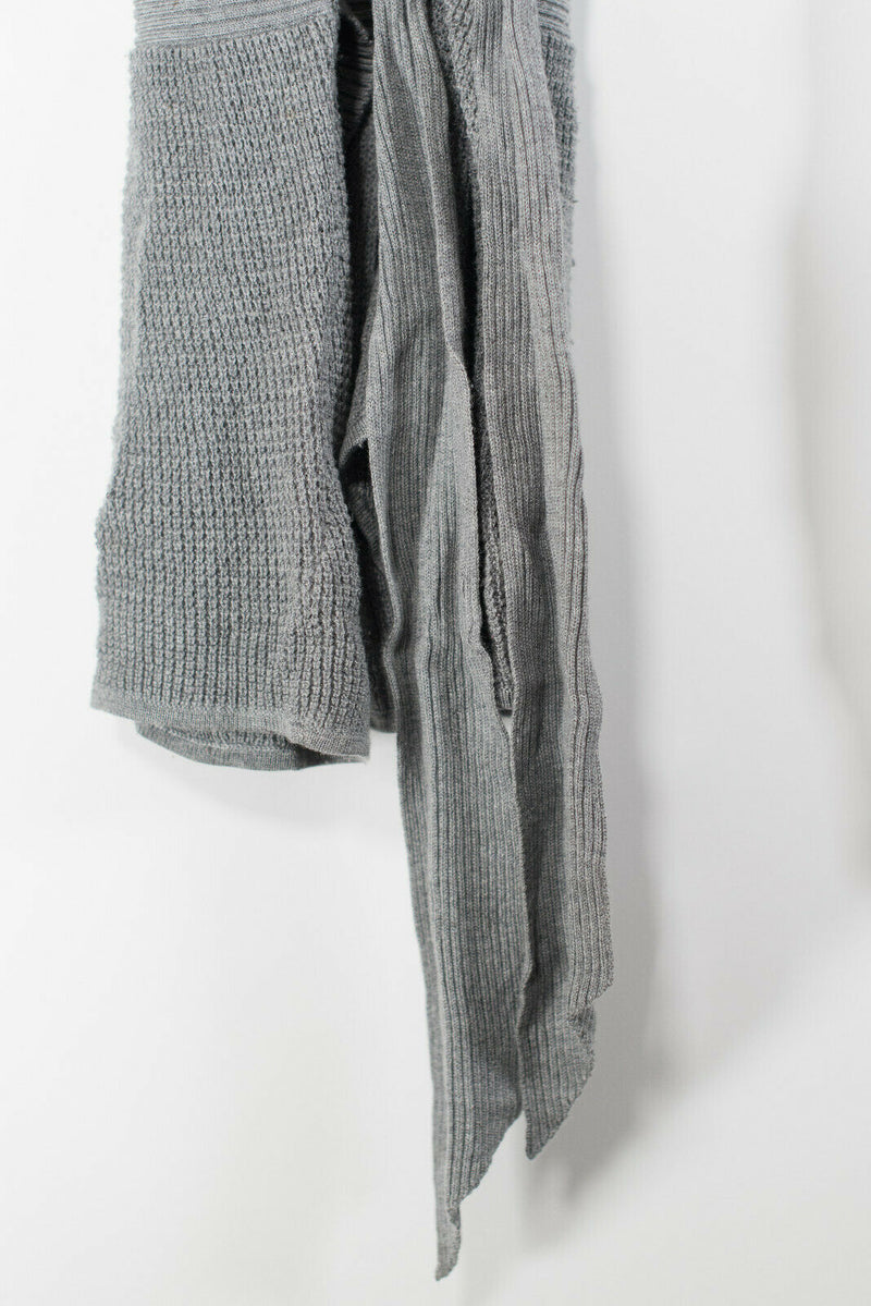 Lululemon Womens Size 4/6 Gray Cardigan Wrap Tie Waffle Knit Open Short Jacket