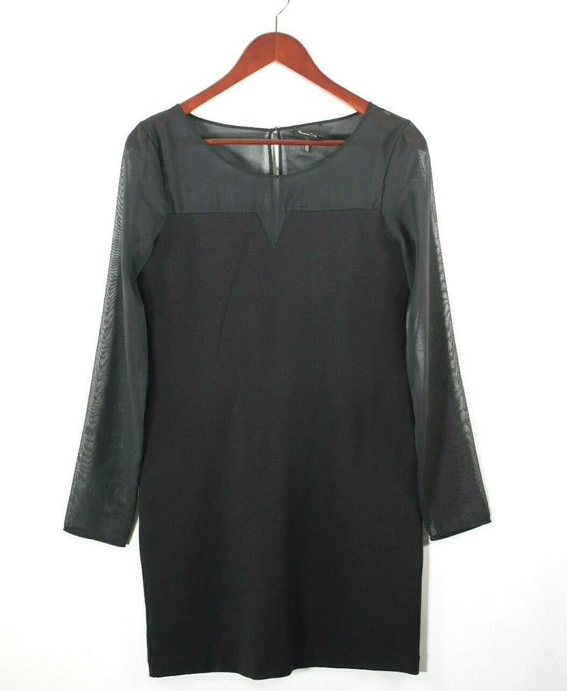 Massimo Dutti Womens Medium Black Dress Sheer Sleeves LBD Short Knee Length Mini