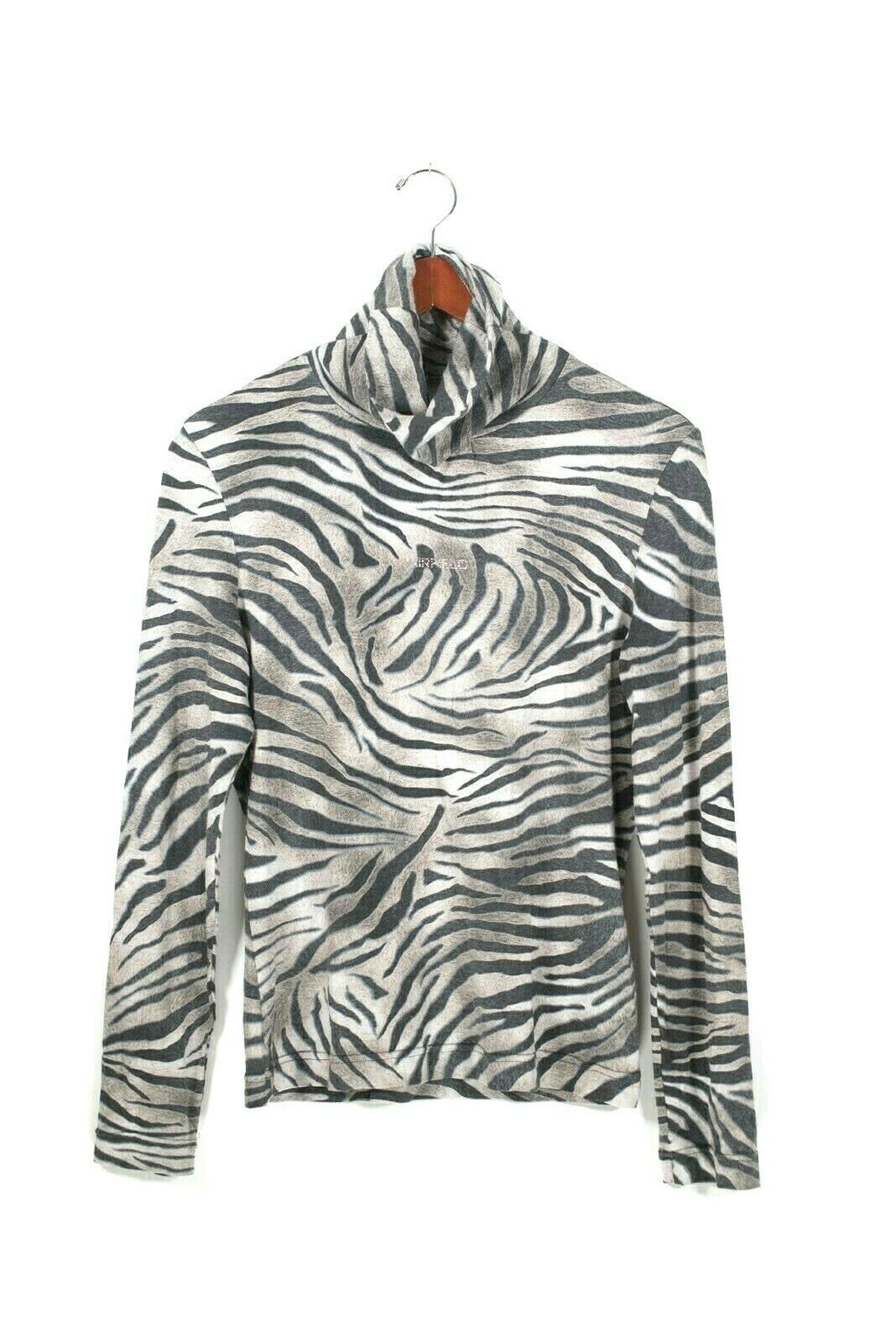 Airfield Size Medium Brown Black Turtleneck Zebra Stripe Pullover Shirt Top
