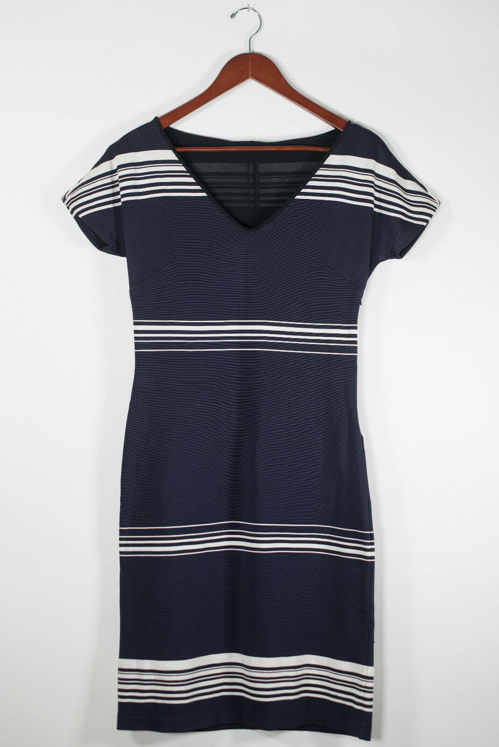 MaxMara Size 42 Blue Nautical Striped Dress