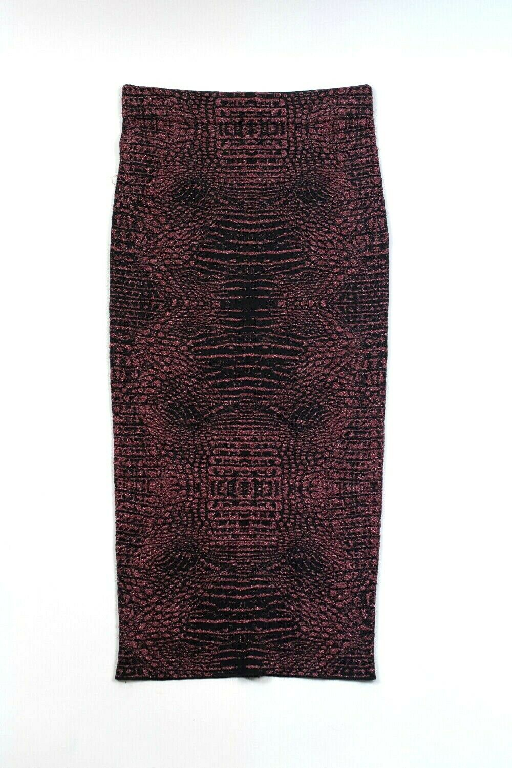 Torn by Ronny Kobo Womens Small Black Pink Skirt Midi Pencil Snake Knit Metallic