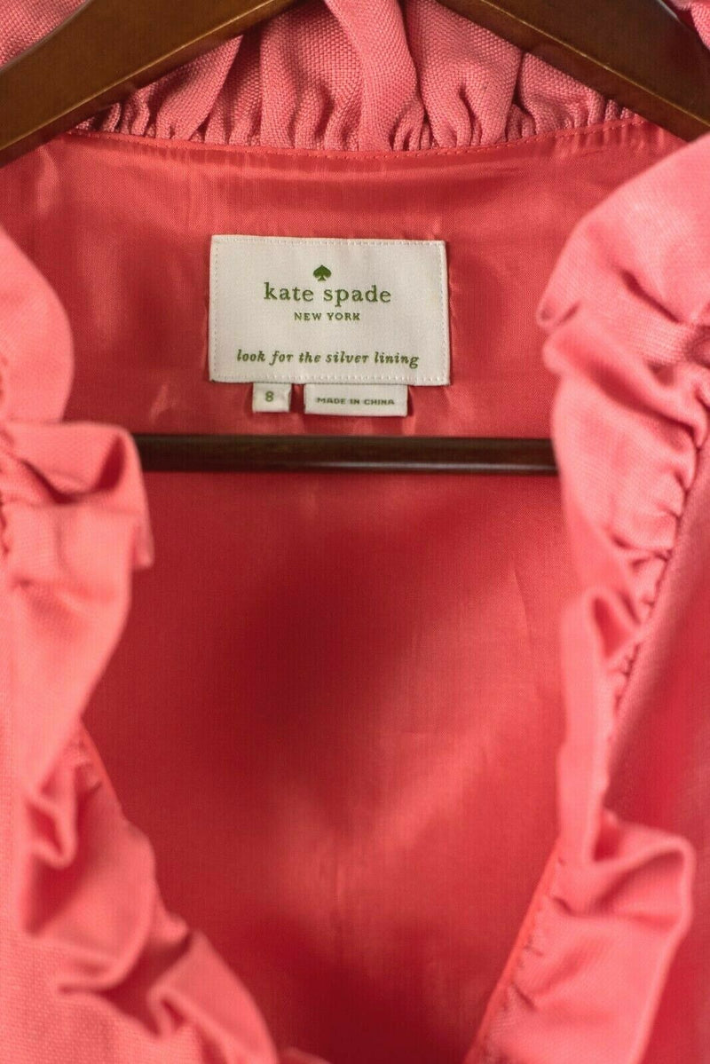 Kate Spade Womens Size 8 Medium Coral Dress Mini Ruffle Neckline Linen Blend