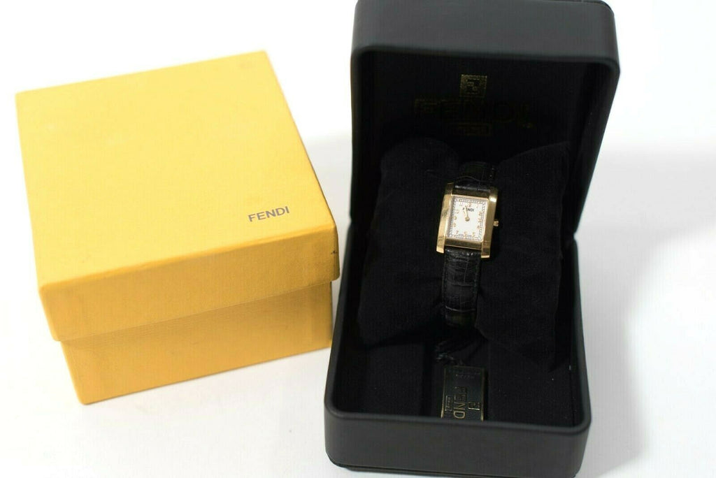 Fendi Womens Black Gold Wrist Watch Embossed Leather Strap Quartz Watch W Box
