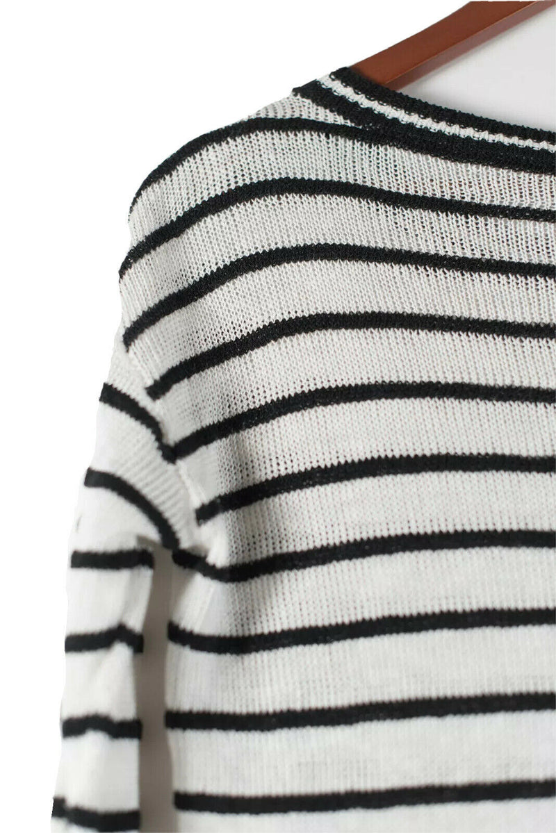 Alice + Olivia Womens Size XS Ottoman Sweater Striped Knit Scoop Linen Blend