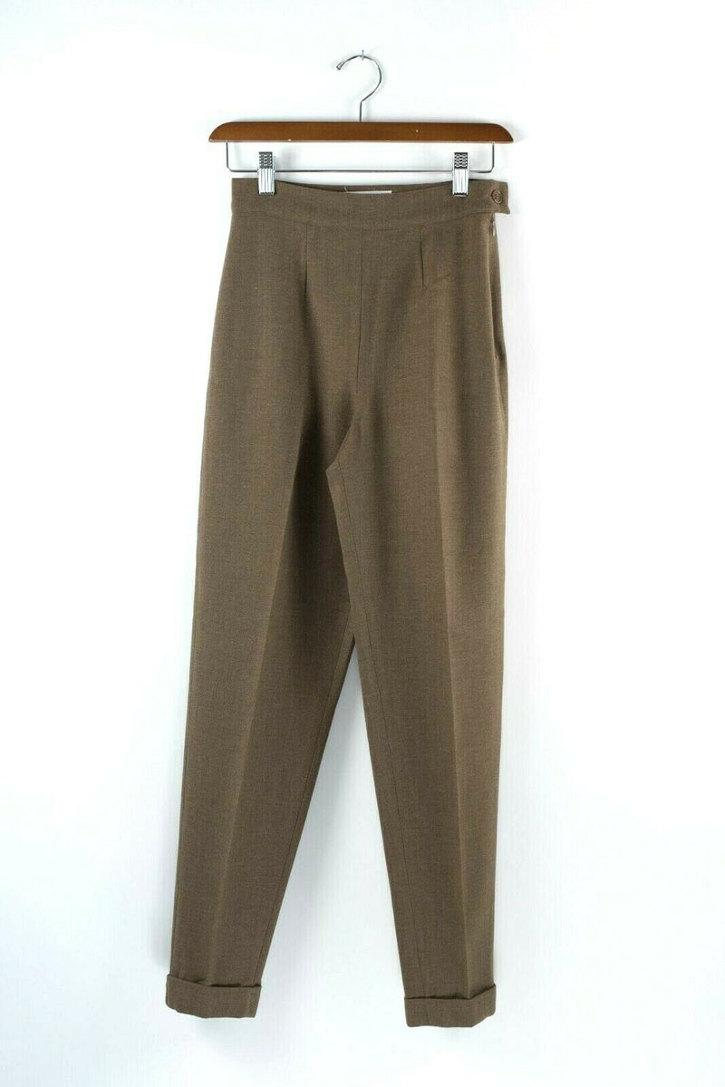 Max Mara Womens Size 4 Small Brown Trousers Taupe Side Zip Slim Vintage Pants