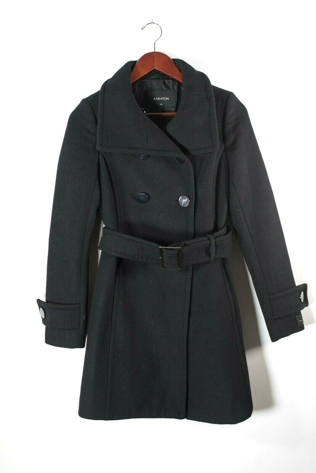 Aritzia Babaton Womens Size XXS Black Coat Bromley Military Belted Button Collar