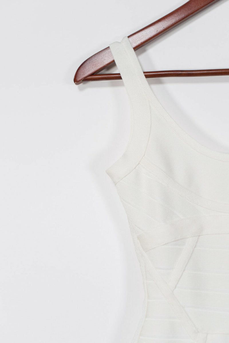 Herve Leger Size XS White Basic Scoop Neck Papyrus Dress