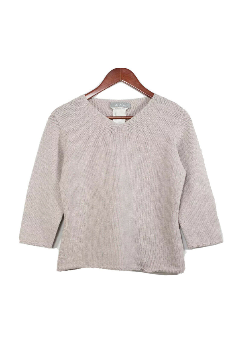Max Mara Womens Medium Beige Pullover Sweater