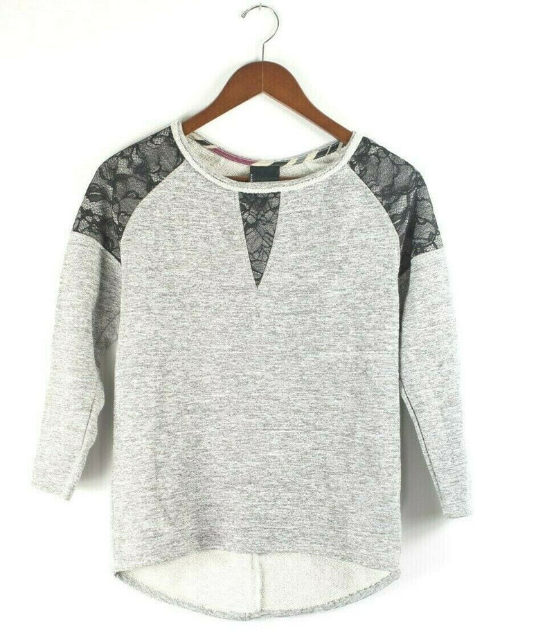 Dolan Left Coast Anthropologie Womens XS Grey Sweater Lace Pullover Knit Top