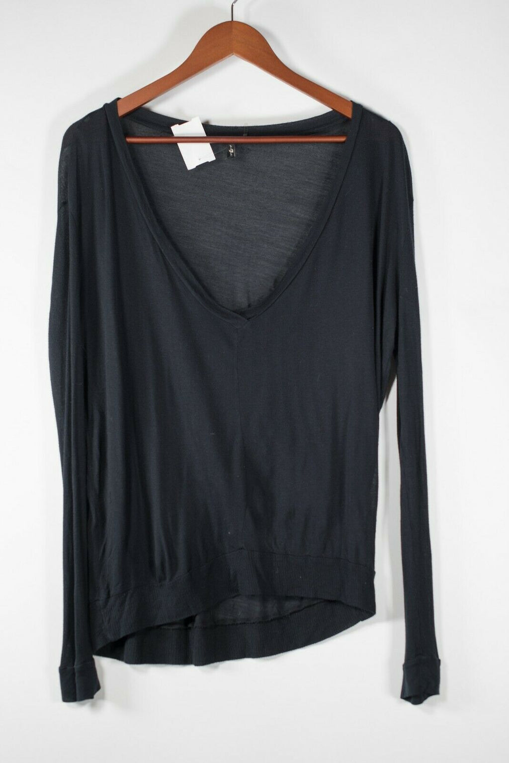 7 For All Mankind Womens Small Black T-Shirt Jersey V-Neck Long Sleeve Sheer Top