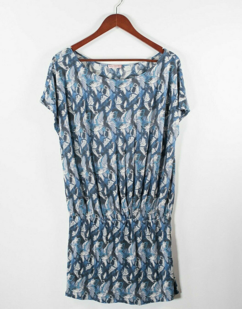 Juicy Couture Women Petite XS Blue Shirt Dress Tunic Butterfly Print Drop Waist