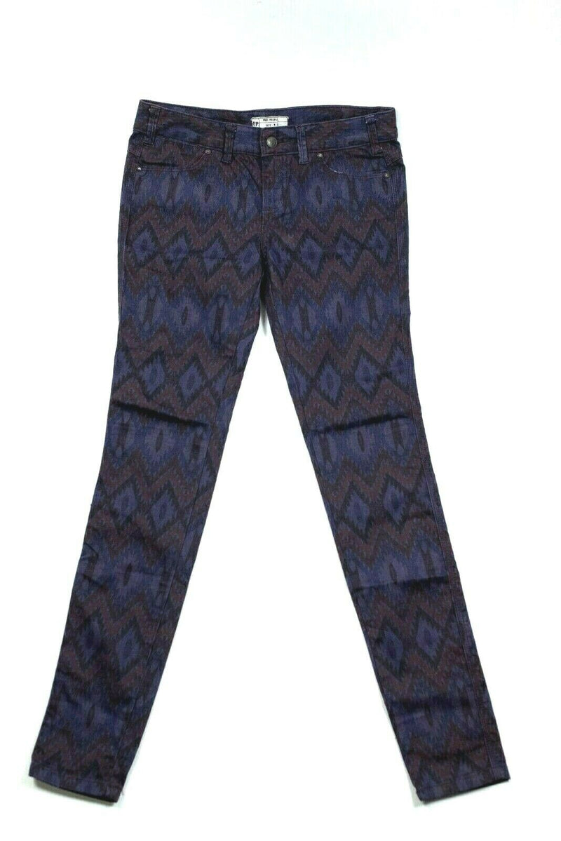 Free People Womens Size 28 Purple Aztec Print Skinny Jeans
