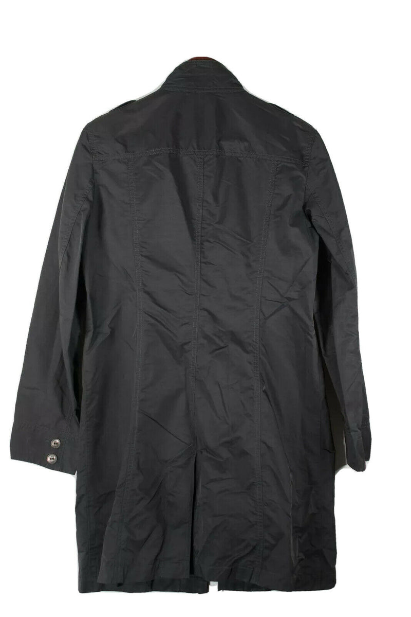 Luisa Cerano Womens Medium Black Jacket Midi Nylon Button Front Pockets Coat