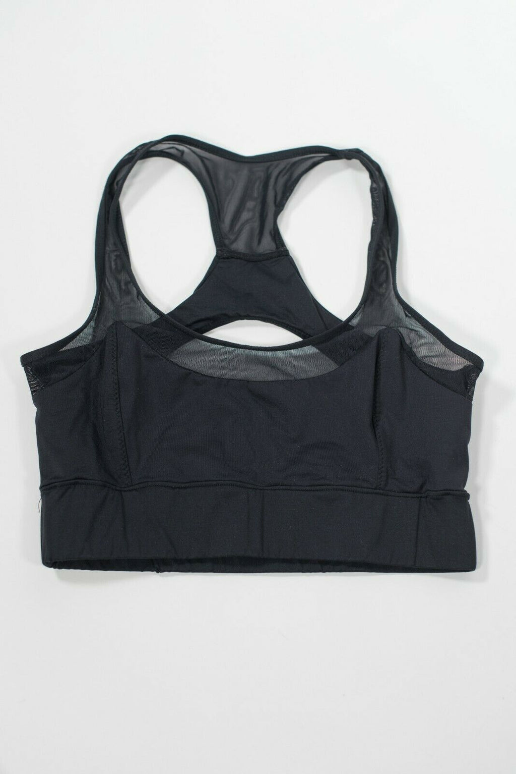 Varley Women's Size Medium Black Sports Bra Mesh Shirt Open Back Cropped Top