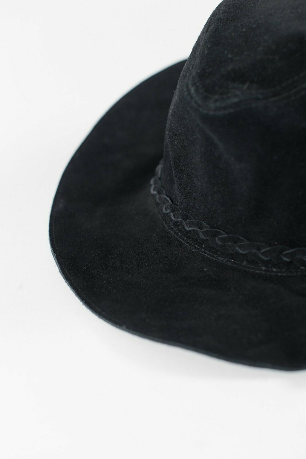 Staring at Stars Women's Small Black Hat Suede Leather Woven Trim Floppy Brim