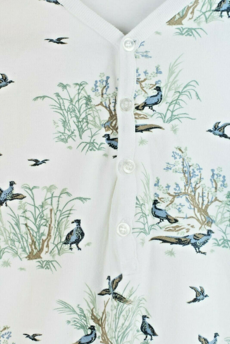 Earl Jeans Womens Size 1 Small White Blue Top Floral Bird Graphic Shirt Vintage