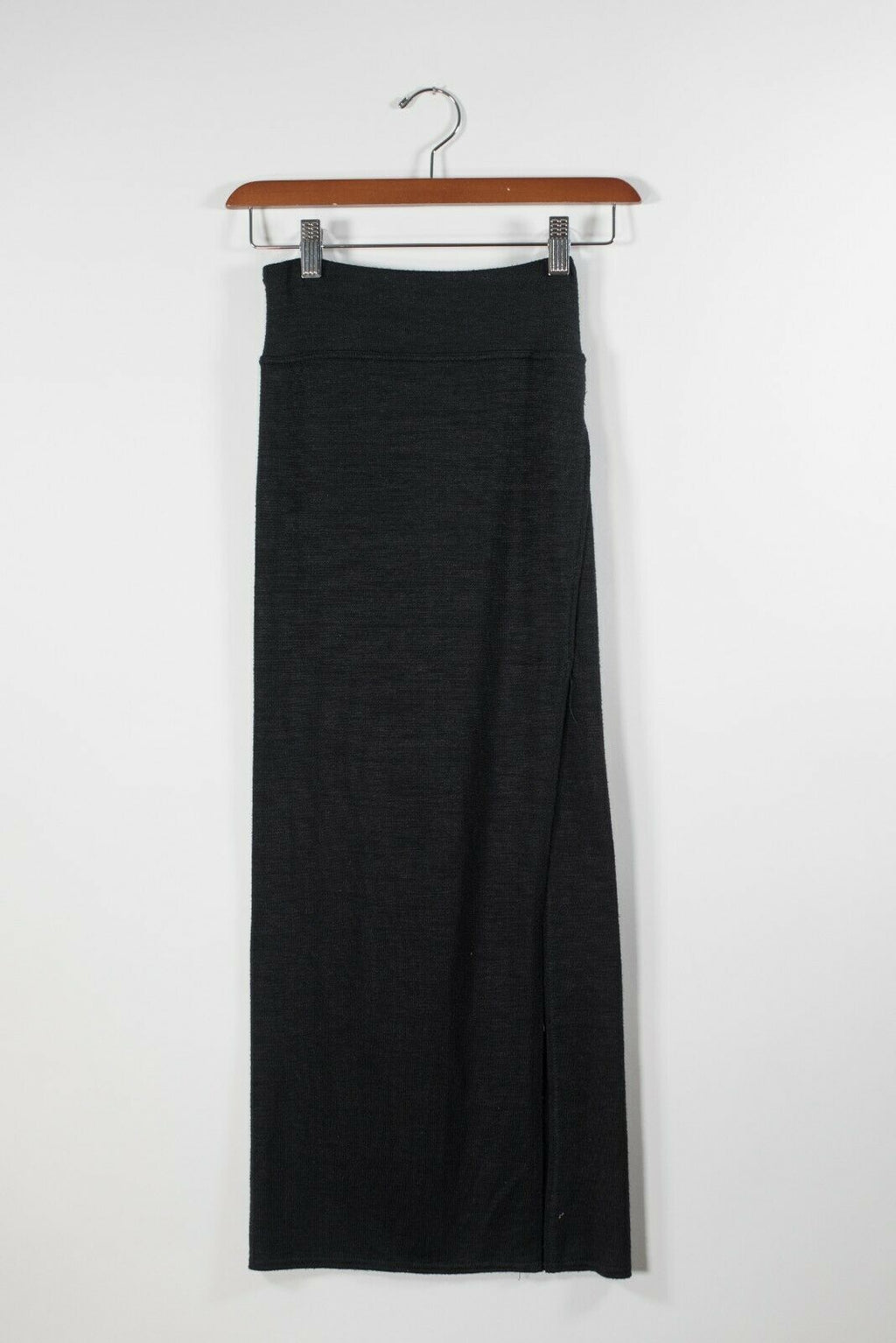 Aritzia Wilfred Free Womens XXS Black Skirt Side Slit Midi Knit Elastic Waist