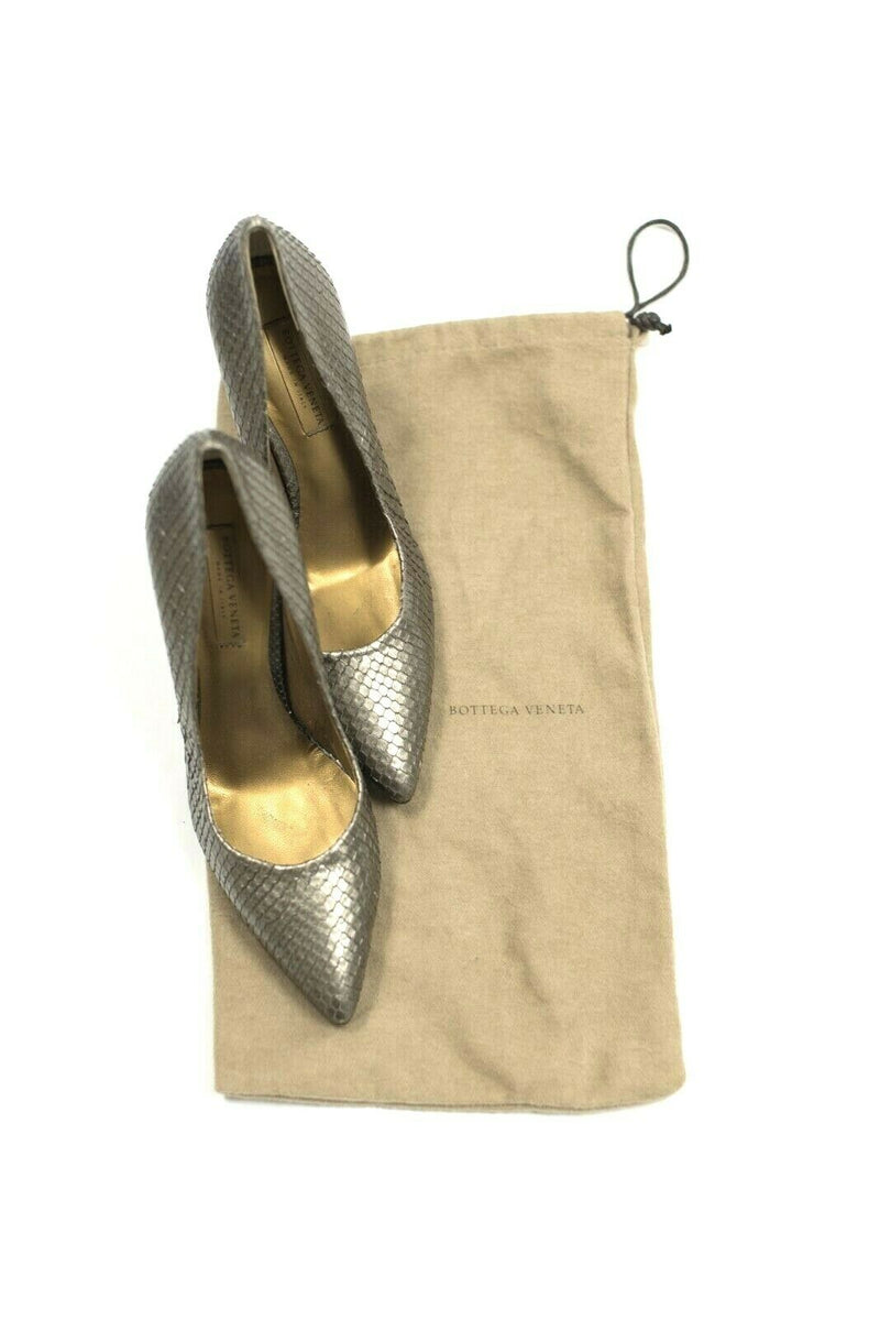 Bottega Veneta Womens Size 37.5 Pewter Pumps Leather Python Heel Snakeskin Shoes
