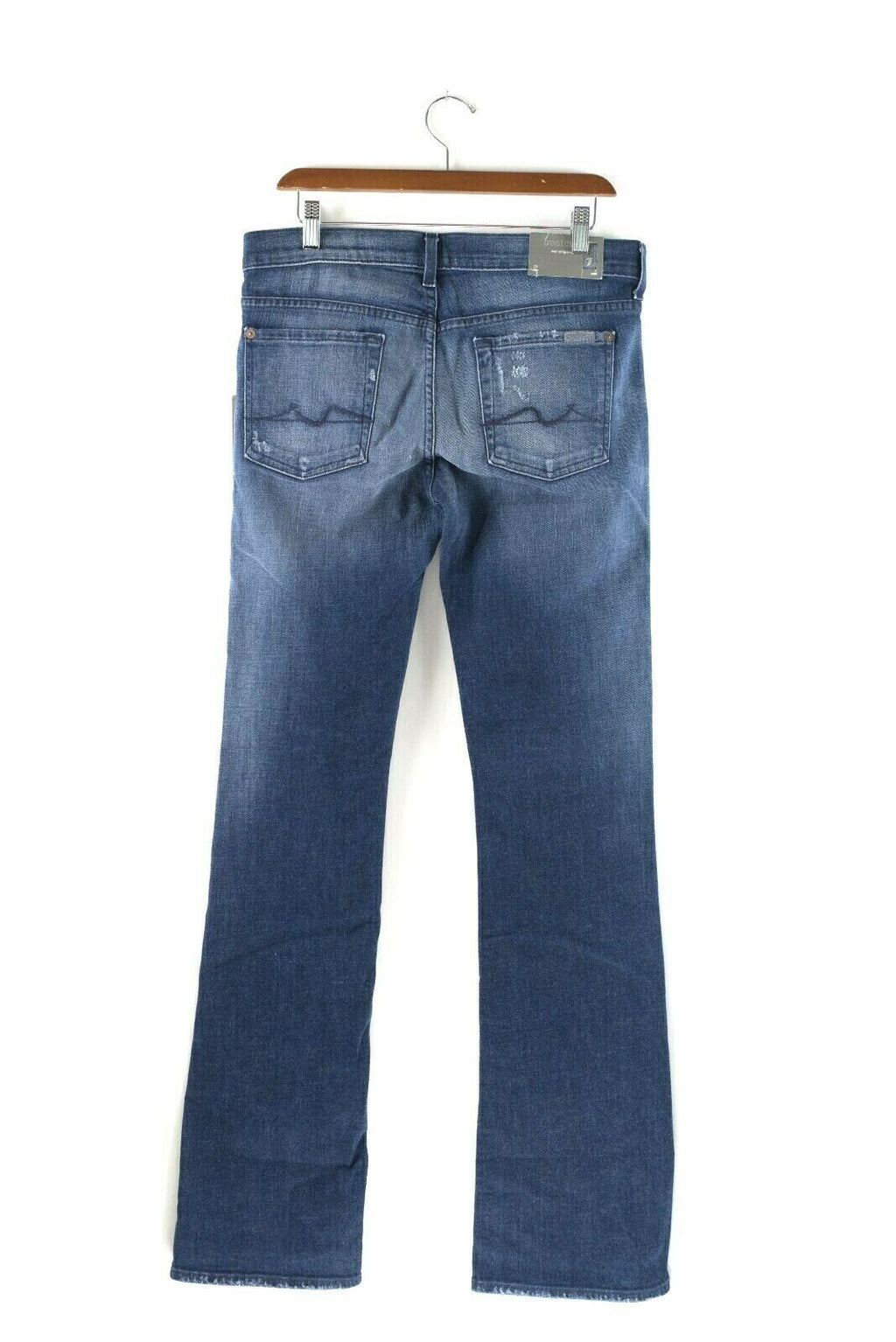7 for All Mankind Womans Size 30 Blue Denim Distressed Bootcut Cotton Blend Jean