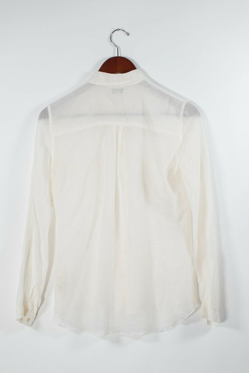 Aritzia T Babaton Womens XS Ivory Long Sleeve Blouse Sheer Cotton Pocket Top