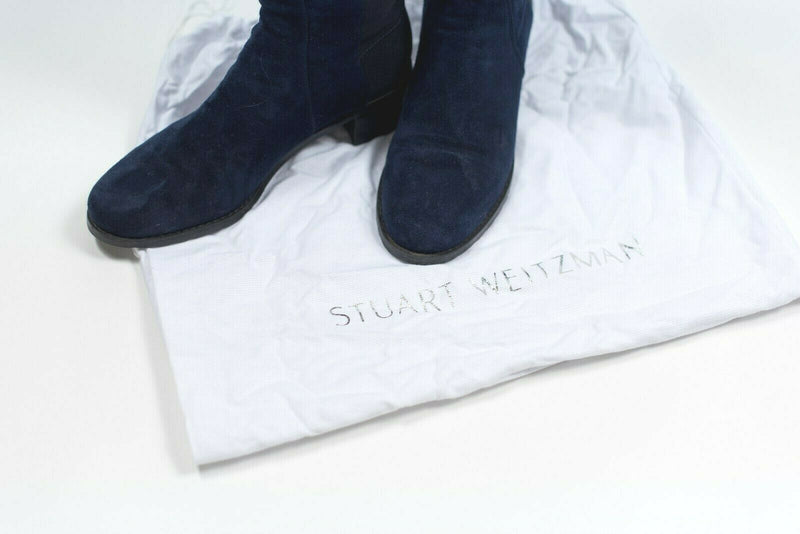 Stuart Weitzman Womens Size 6.5 Navy Blue 5050 Over the Knee Leather Flat Boots