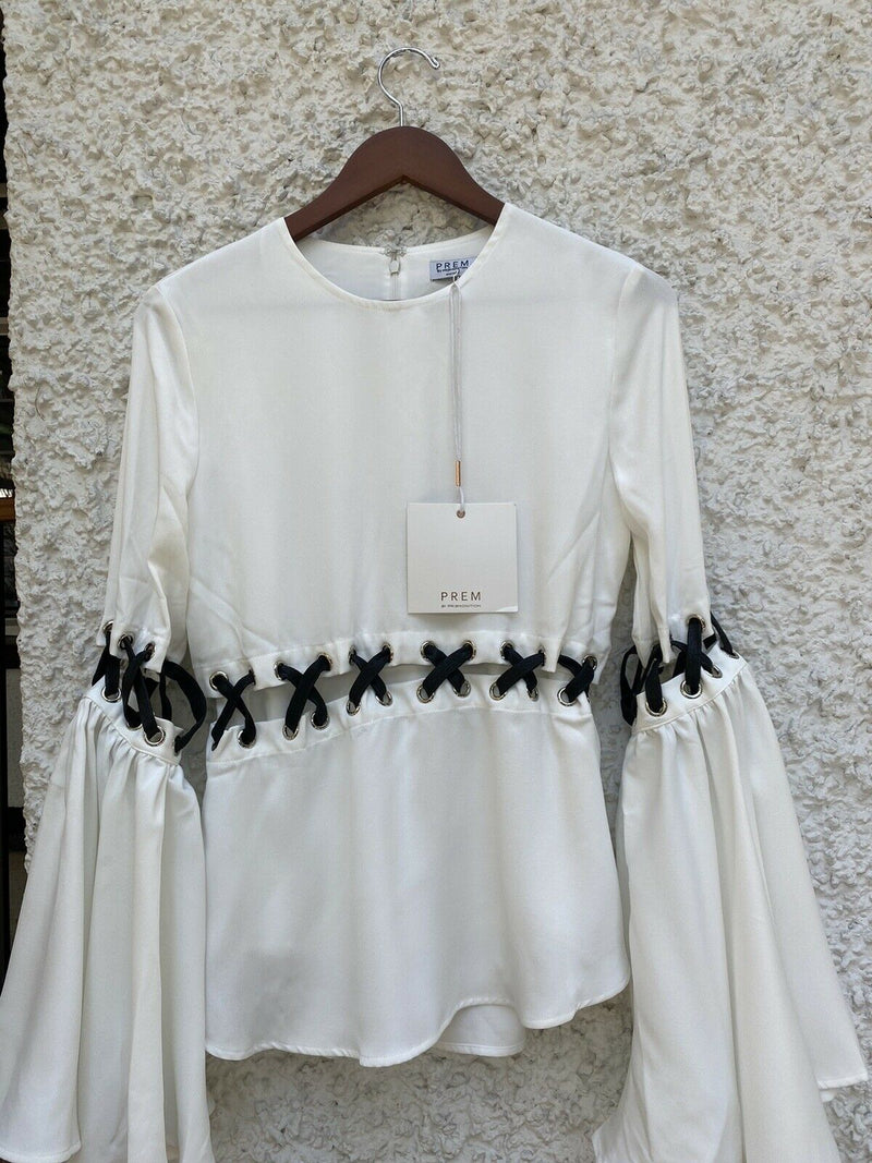 PREMONITION Prem Size 4 Small White Shirt Guns And Roses Top Cutout Blouse NWT