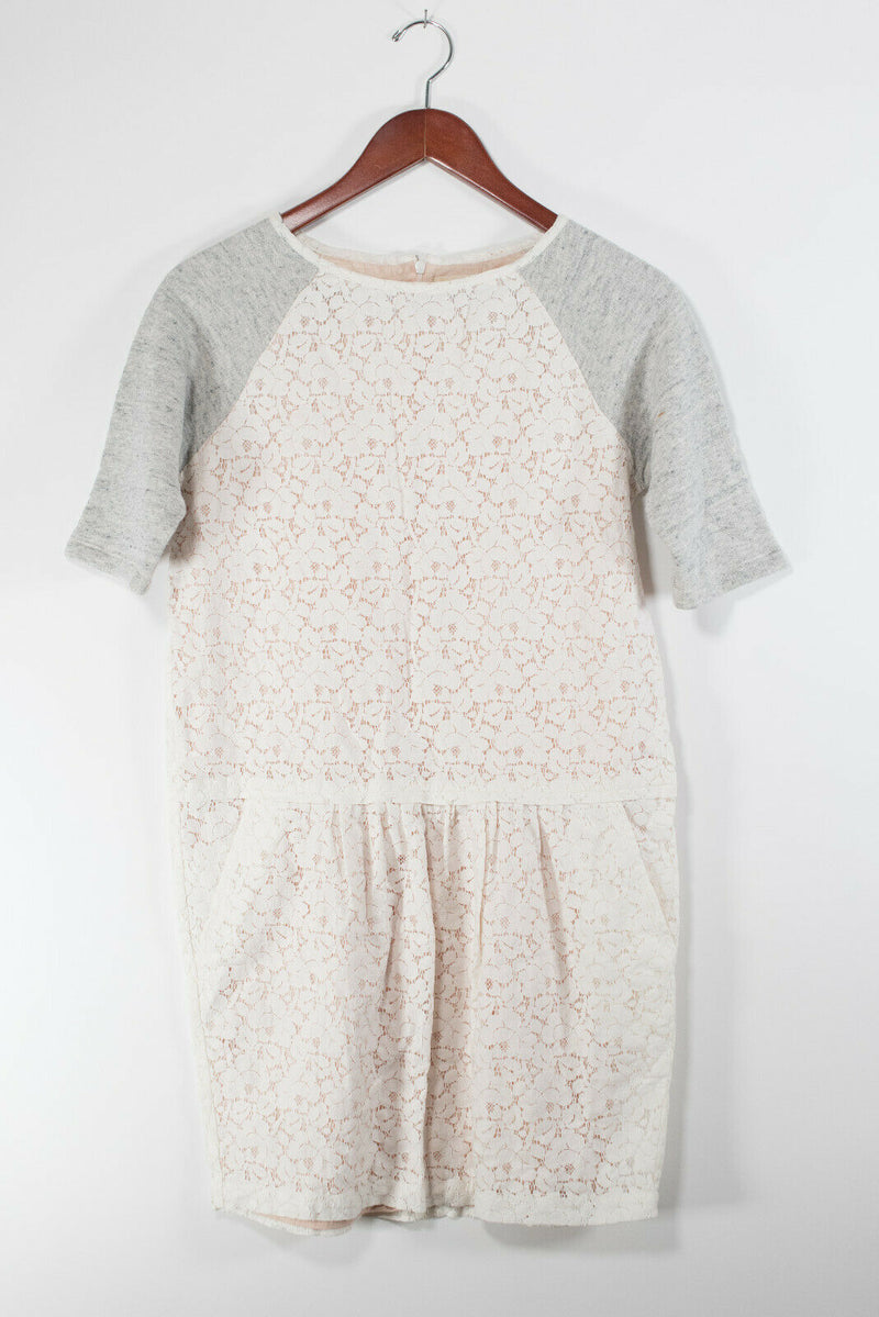 Bellerose Girls Size 16 Large Ivory Grey Dress Cotton Blend Lace Slash Pockets