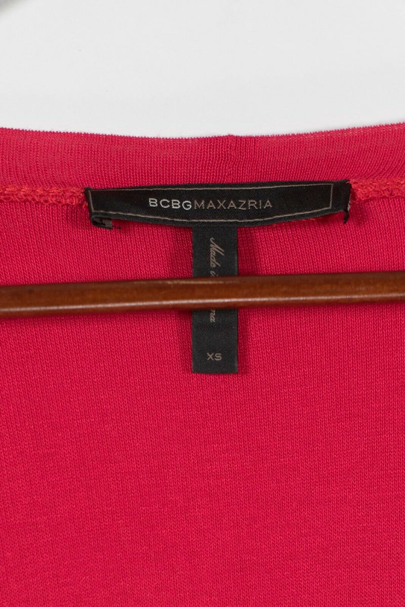 BCBG MAXAZRIA Womens XS Red Sweater Dress Long Sleeve Ruched Cotton Blend Tunic
