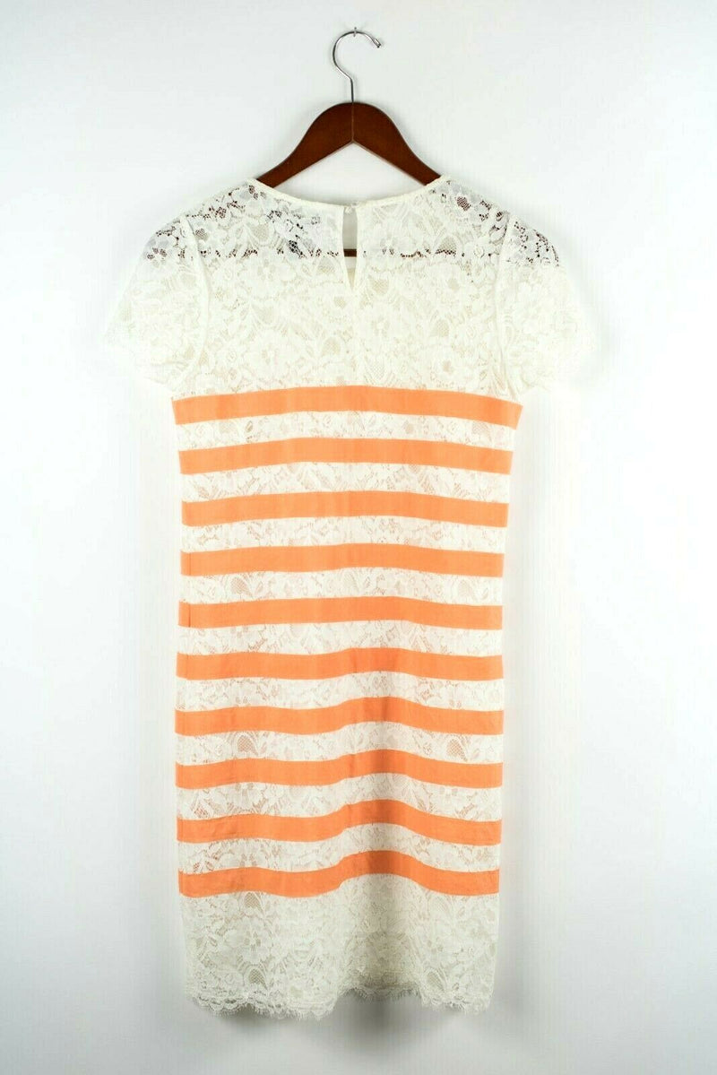 BCBG Maxazria Womens Size XS Ivory Orange Dress Renata Stripe Mini Cap Sleeve