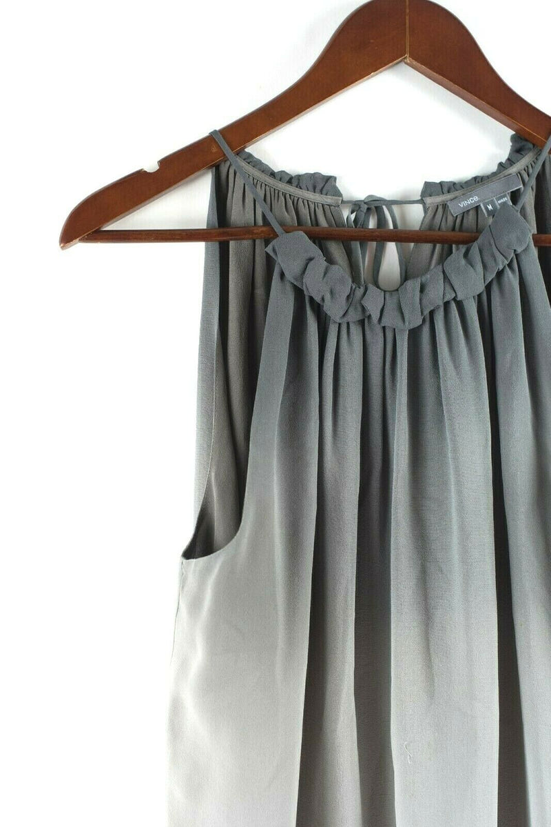 Vince Womens Medium Grey Tank Top Sleeveless Silk Ombre Print Blouse Shirt Tee