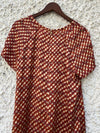 Tory Burch Womens Size 14 Large Red Ivory Short Sleeve Embellished Blouse Shirt