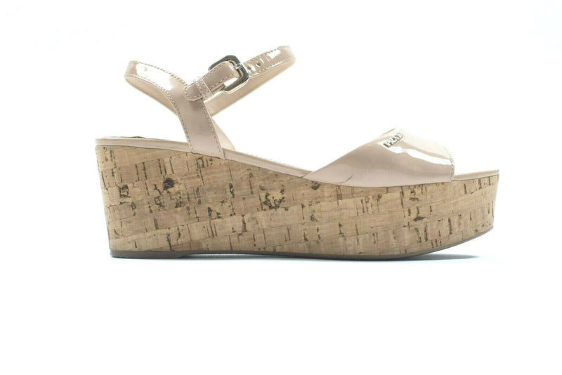 Prada Womens Size 8 Nude Sandals Patent Leather Ankle Strap Cork Wedge Heels