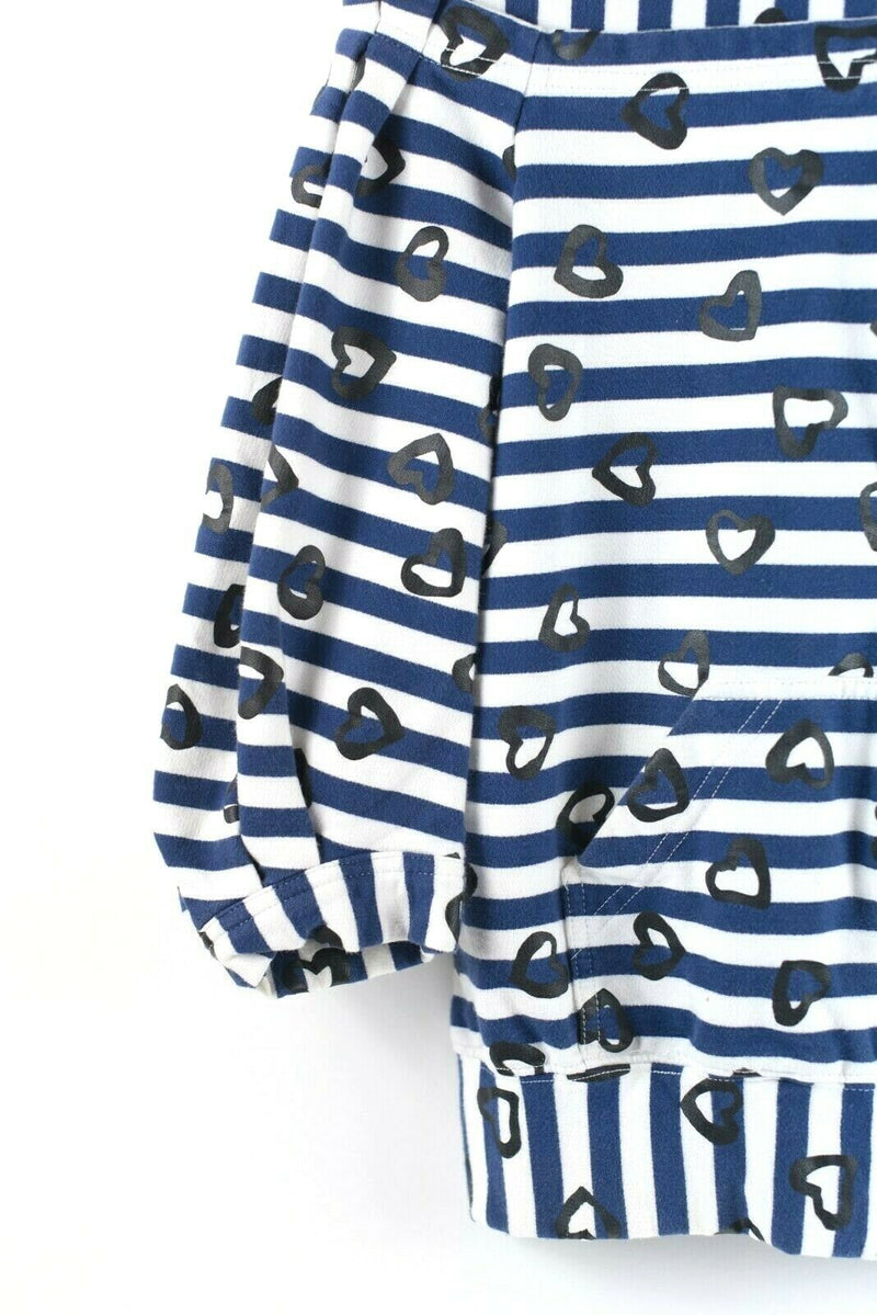 Marc By Marc Jacobs Womens Small Blue White Hoodie Heart Cotton Zip Sweatshirt
