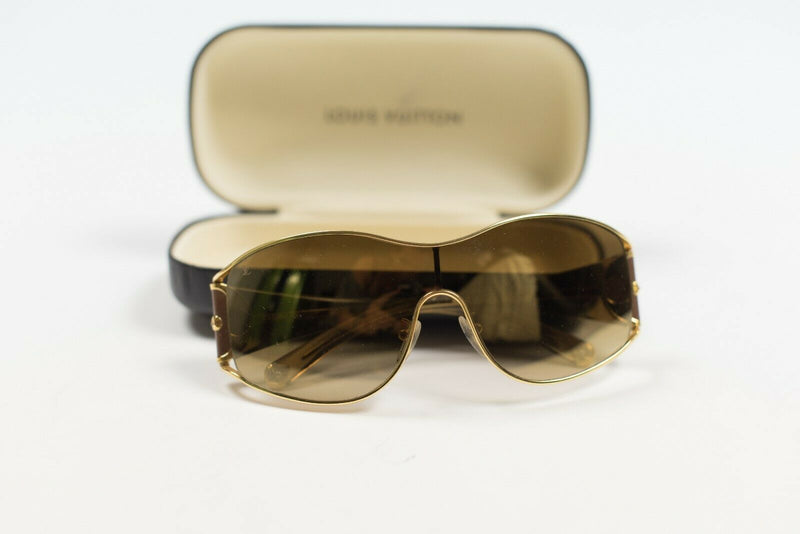 Louis Vuitton Womens Gold Brown Sunglasses Jasmine Flower Gradient Oversize Auth