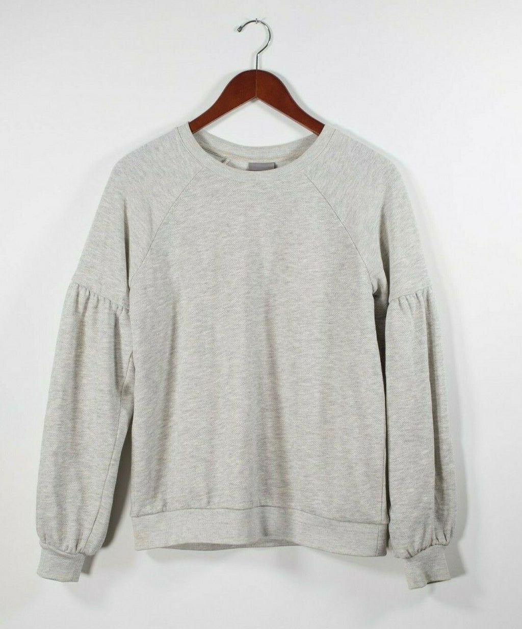 Vero Moda Womens Small Gray Pullover Cotton Blend Crew Neck Sweatshirt Sweater