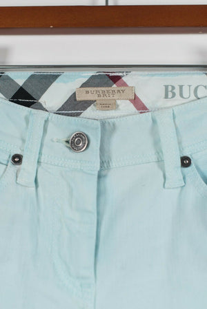 Burberry Brit Womens Size 25 Mint Green Capri Pants Skinny 5 Pocket Trousers