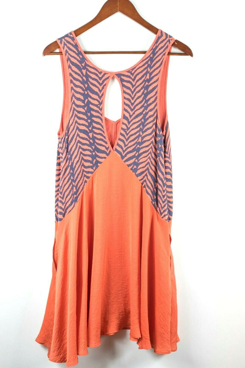 Free People Womens Size Medium Orange Purple Zebra Stripe Sleeveless Knit Dress