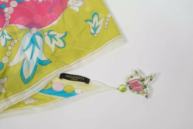 Emilio Pucci Pink Yellow Cotton Print Beaded Head Wrap Scarf